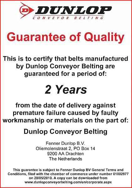 Dunlop Conveyor Belting Guarantee
